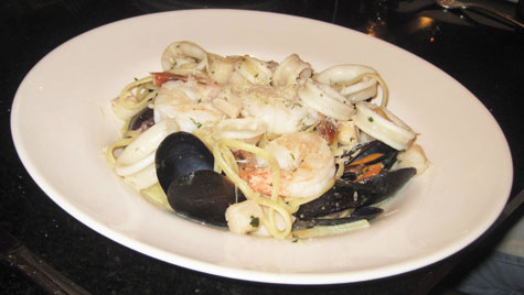 Seafood pasta plate