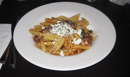 Penne with ricotta salata and eggplant