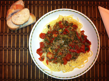 spaghetti sauce with jarred roasted peppers