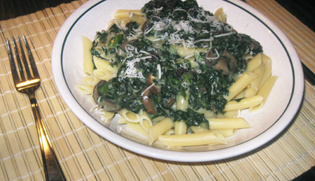 penne wtih a spinach sauce